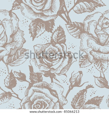 Seamless floral pattern with roses - stock photo