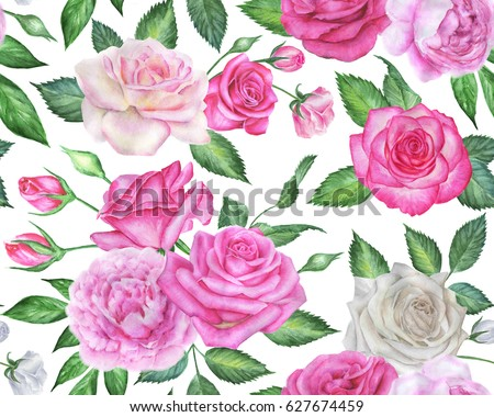 Seamless floral pattern with roses and peonies. Pink and white watercolor flowers.