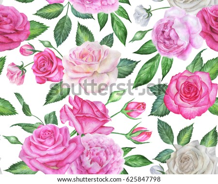Seamless floral pattern with roses and peonies.  Pink watercolor flowers.