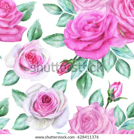 Seamless floral pattern with roses. Pink and white watercolor flowers.