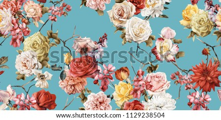 Seamless floral pattern with roses, watercolor.  stock photo