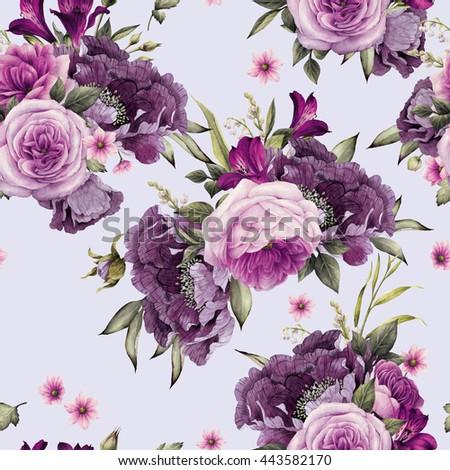 Seamless floral pattern with roses, watercolor. #443582170