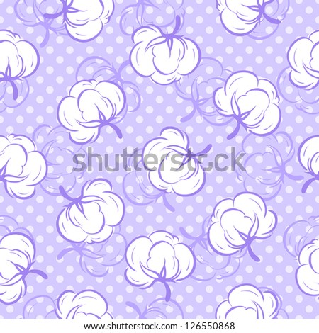 Seamless floral pattern with soft cotton buds. Raster version. Vector is also available in my gallery
