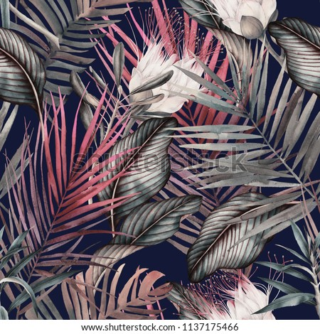 Seamless floral pattern with tropical flowers