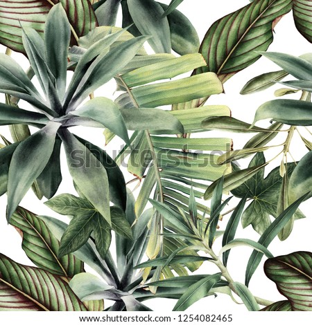 Seamless floral pattern with tropical piants, watercolor.