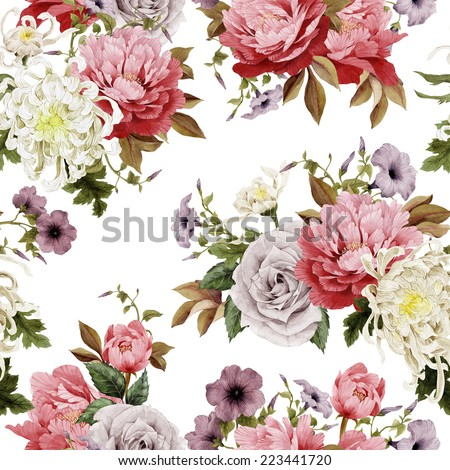 Seamless floral roses with chrysanthemum and peonies on light background watercolor