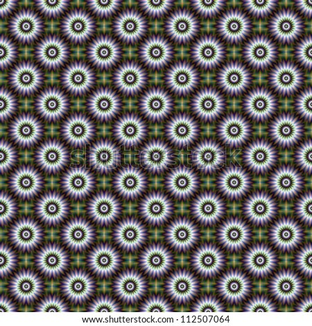 Seamless Floral Rosette/Digital abstract image with a tiled seamless floral rosette design in green, blue, purple, white and yellow.