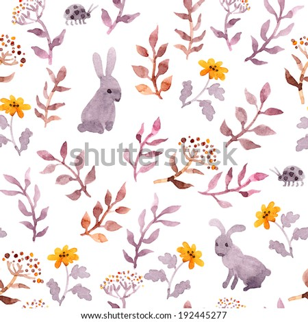 Seamless floral style template with cute flowers, vintage leaves and watercolour rabbits. Retro naive design on white background.