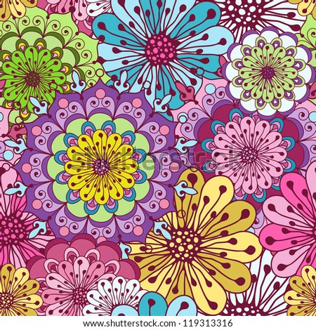 Seamless floral vivid pattern with colorful flowers