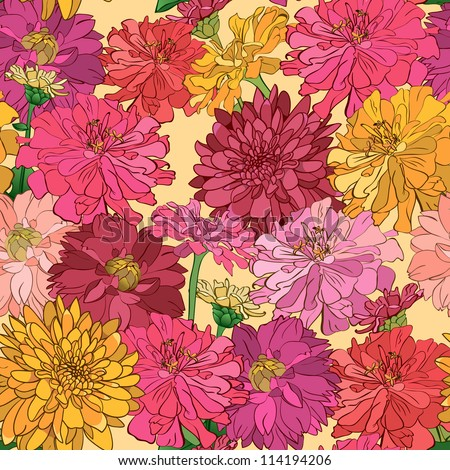 Seamless floral wallpaper with hand-drawn flowers, brightly-colored. Eps file is also available