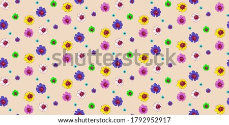 Seamless flower pattern design. Colorful flowers pattern is fashionable and suitable for fabrics, decoration, textile, backgrounds, stationery... Stok fotoğraf ©
