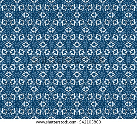 Seamless Flower Pattern Modern Geometry Abstract Raster Illustration Silver On Blue For