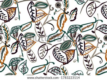 Seamless flower petals pattern made of contour flowers.