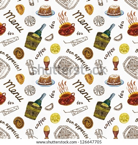 Seamless food pattern on the white background