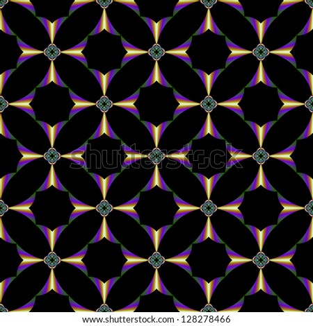 Seamless Fractal Cross / Digital abstract fractal image with a seamless tiles cross design in green, blue and gold on a black background.