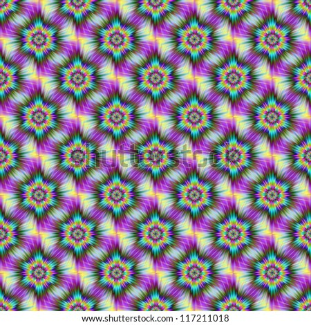 Seamless Fractal Star/Digital abstract image with a seamless psychedelic tiled star design in pink, yellow and blue. - stock photo