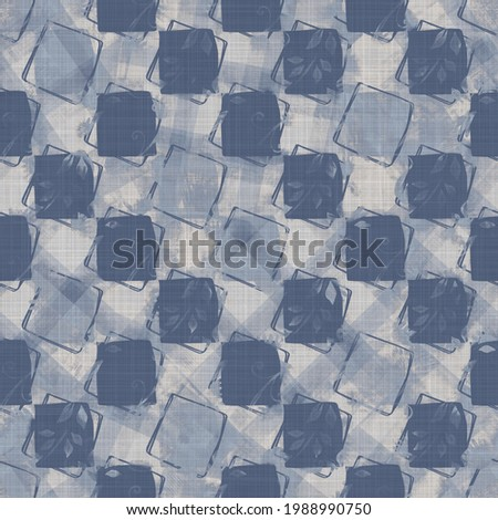 Seamless french blue geometric farmhouse linen background. Provence gray rustic romantic woven pattern texture. Shabby chic style tonal cottage shape textile print.   Stock fotó ©