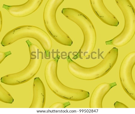 seamless Fresh Bananas on blue background.