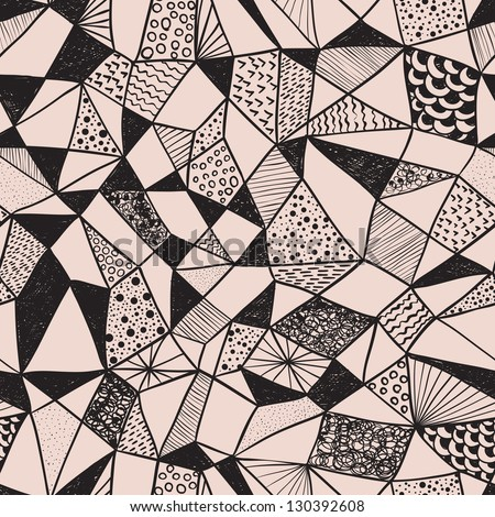 seamless funky pattern doodle hand drawn style stock