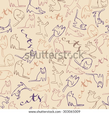 Seamless Funny Pattern With Cute Cats Silhouette And Handwritten
