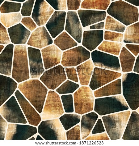 Seamless geo tile shape collage surface pattern. High quality illustration. Random chunks of color chaotically jumbled together inside voronoi jigsaw puzzle shapes. Ornate and detailed texture.