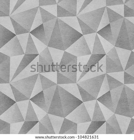 Seamless geometric background. Triangular mosaics pattern on paper texture - stock photo