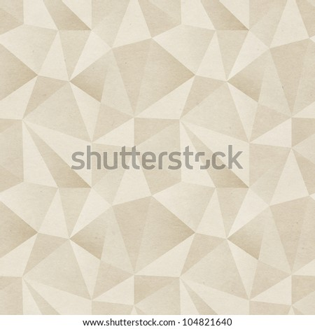 Seamless geometric background. Triangular mosaics pattern on paper texture