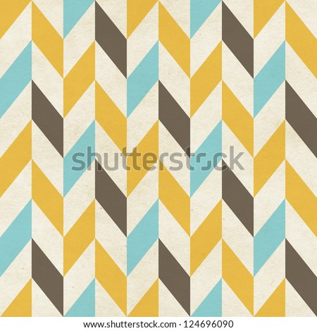 Seamless geometric chevron pattern on paper texture