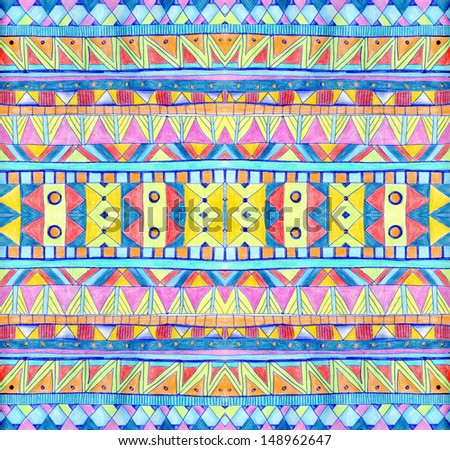 Seamless geometric pattern in aztec style Tribal ethnic texture Raster illustration hand drawn