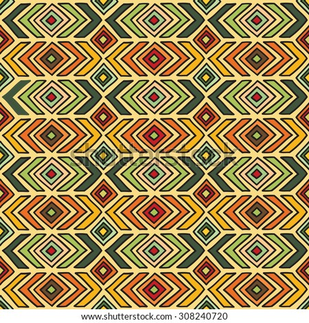 Seamless geometric pattern in ethnic style, a bright structure of different geometric shapes.