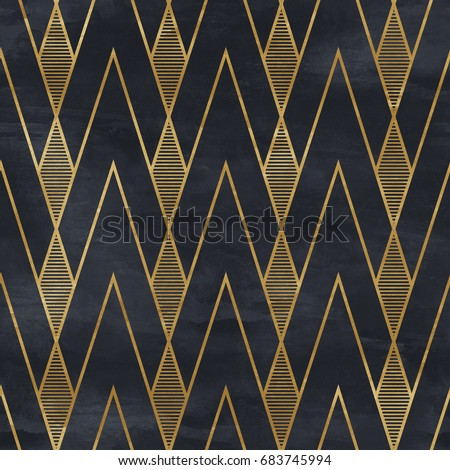 Seamless geometric pattern on paper texture. Art Deco background,