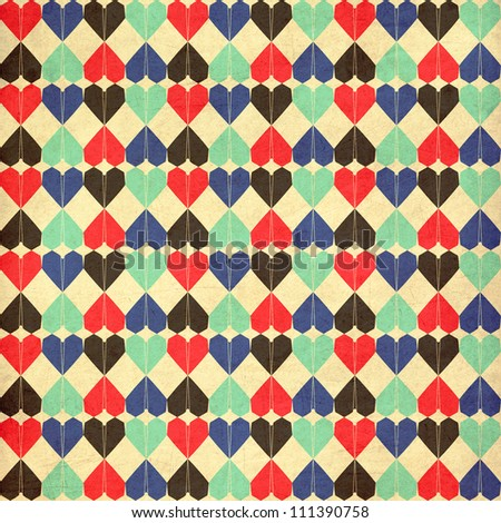Seamless geometric pattern with red origami hearts. Can be used for wallpaper, pattern fills, web page background, surface textures.