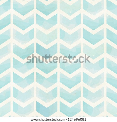 Seamless geometric watercolor chevron pattern on paper texture