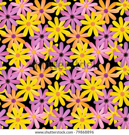Seamless gerbera flowers pattern, background or wallpaper ( for EPS format see image 79868893 )