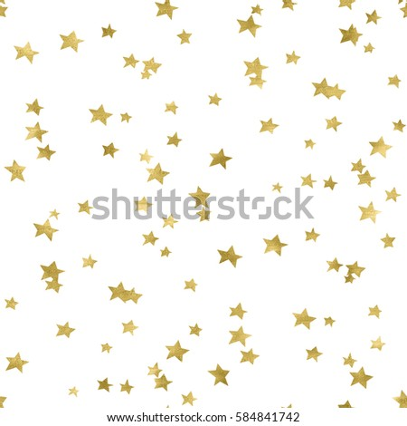 Seamless Gold Star Confetti Background Pattern.
