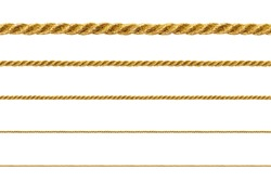 Seamless golden rope isolated on white background for continuous replicate.