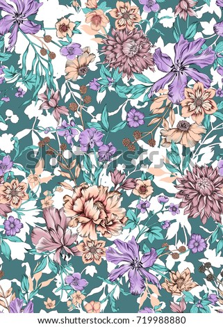seamless graphical hand drawn gentle multi color floral pattern, orchids, poppy, chrysanthemum, dahlia flowers.