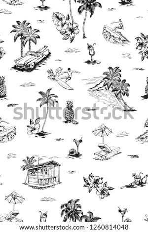 seamless graphical hand drawn with pencil tropical conversational pattern with palms, hibiscus, plumeria, monstera leaf, fruits, car, cocktails, surfing men, mountain. Hawaiian black and white design.