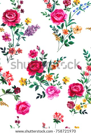 seamless graphical hand painted watercolor floral bouquets pattern with red roses, anemone, wild flowers. Vibrant multicolor blooming nature background design.
