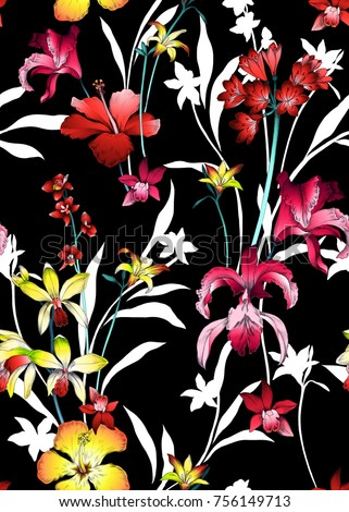 seamless graphical tropical flowers pattern, bright multicolor design with orchids, hibiscus, lilies flowers. Summer nature in bloom.