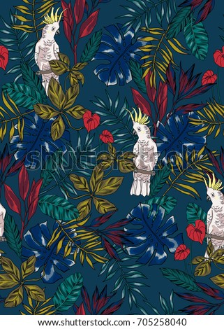 seamless graphical vibrant vivid tropical pattern with cockatoo parrot, monstera leaf, palm leaves, lush tropic foliage, multicolor design