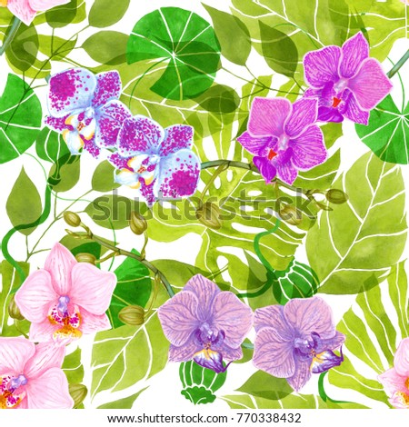 Seamless Green Abstract Philodendron Fern Poppy Orchid Flower Lotus