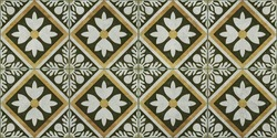 Seamless grunge worn vintage old green yellow mosaic tile mirror with leaves flowers rhombus diamond square mosaic texture background