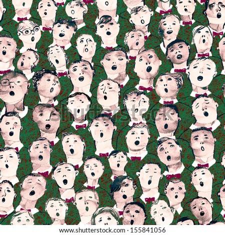 Seamless hand drawn boy's choir illustration