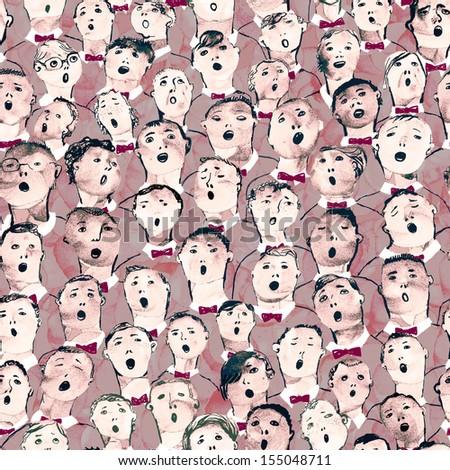 Seamless hand drawn boys choir illustartion
