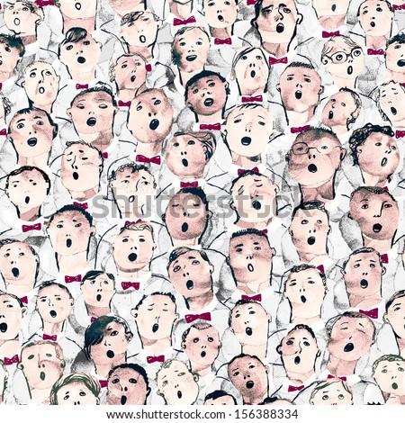 Seamless hand drawn boys choir illustration
