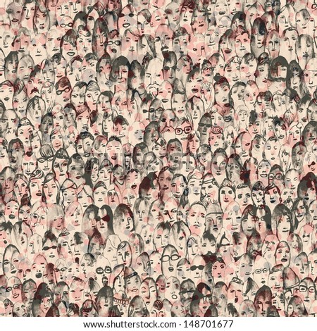 Seamless hand drawn crowd of people illustration