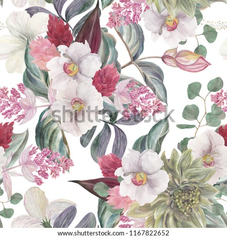 Seamless hand illustrated floral pattern with pink Medinilla Magnifica. Watercolor botanical background