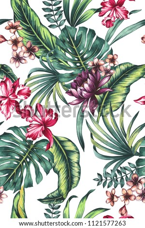 seamless hand painted watercolor lush vibrant tropical pattern with exotic flowers (orchid, chrysantemum, frangipani). Tropic foliage design. Botanical floral illustration.