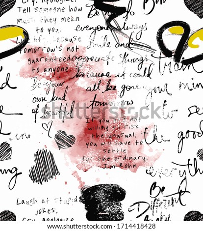 Seamless hand writing, signature, stamp, watercolor effects Сток-фото ©